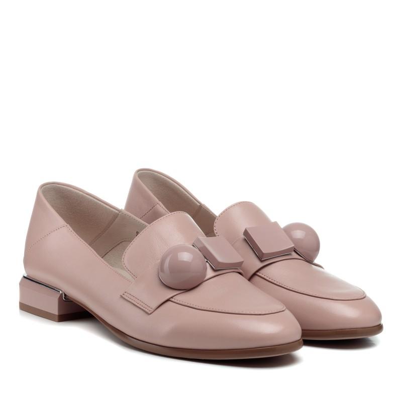 Туфлі-лофери жіночі шкіряні пудрові Lady marcia