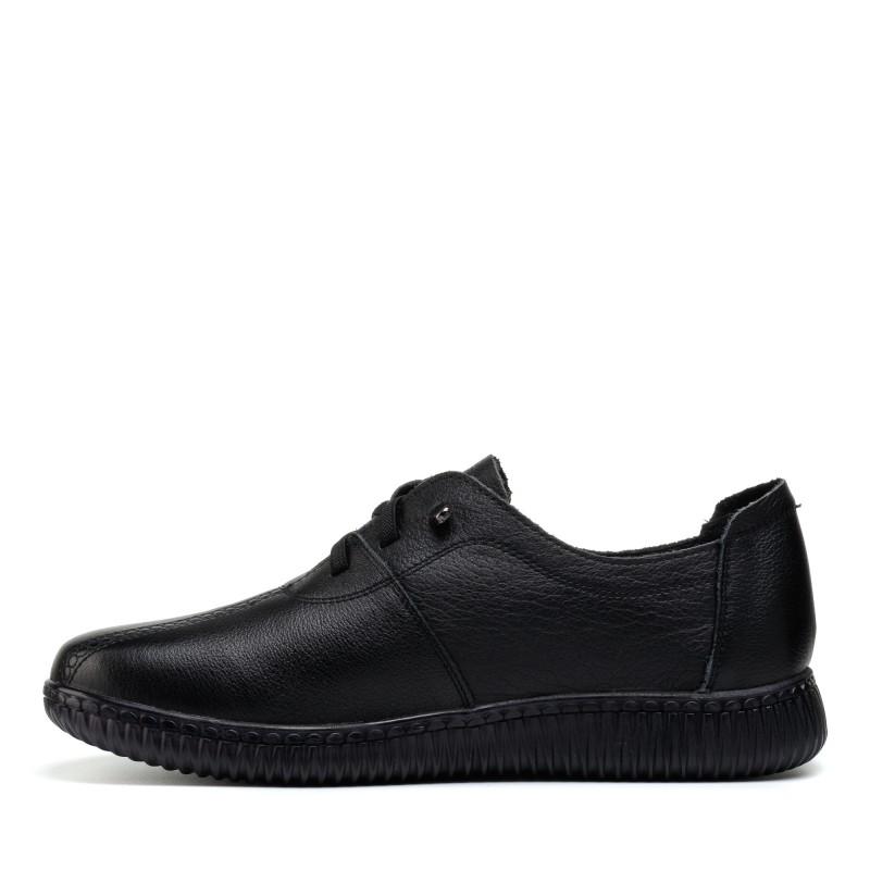 Туфлі жіночі чорні шкіряні на шнурівці Meegocomfo