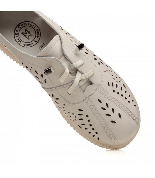 Туфлі шкіряні бежеві на низькому ходу Meegocomfo