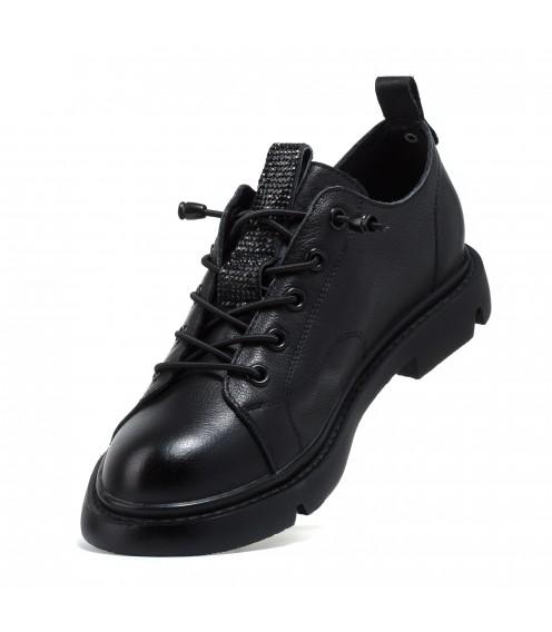 Туфлі шкіряні чорні на шнурівках Berkonty