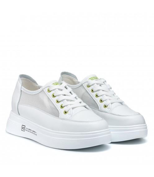 Кеди білі на шнурівці з сіточкою V.I.Konty