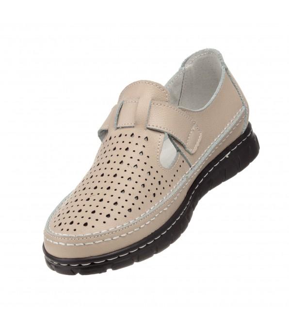 Туфлі бежеві на липучці з перфорацією Lifexpert