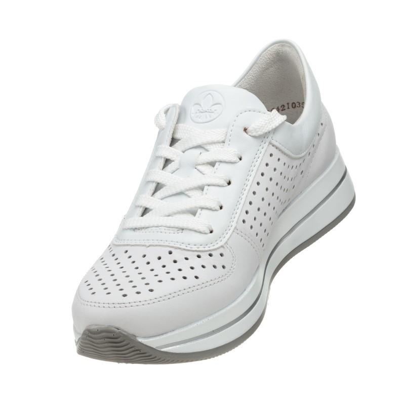 Кроссовки кожаные белые с перфорацией Rieker