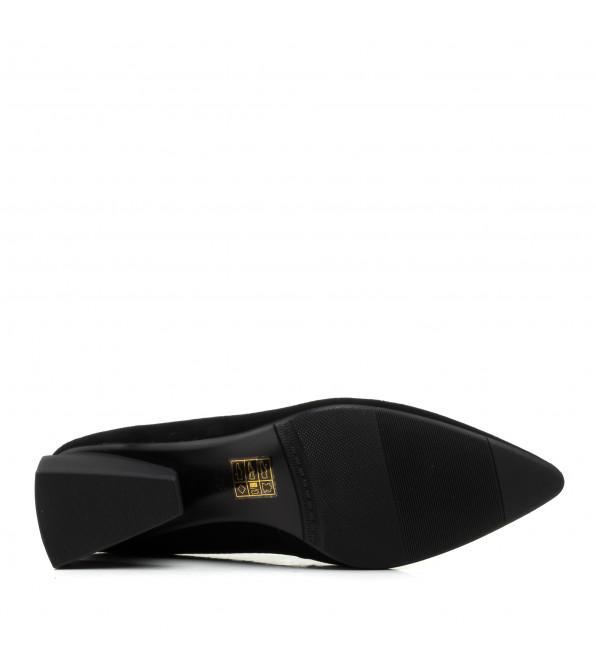 Туфлі жіночі замшеві чорні на оригінальному каблуку  Lady marcia