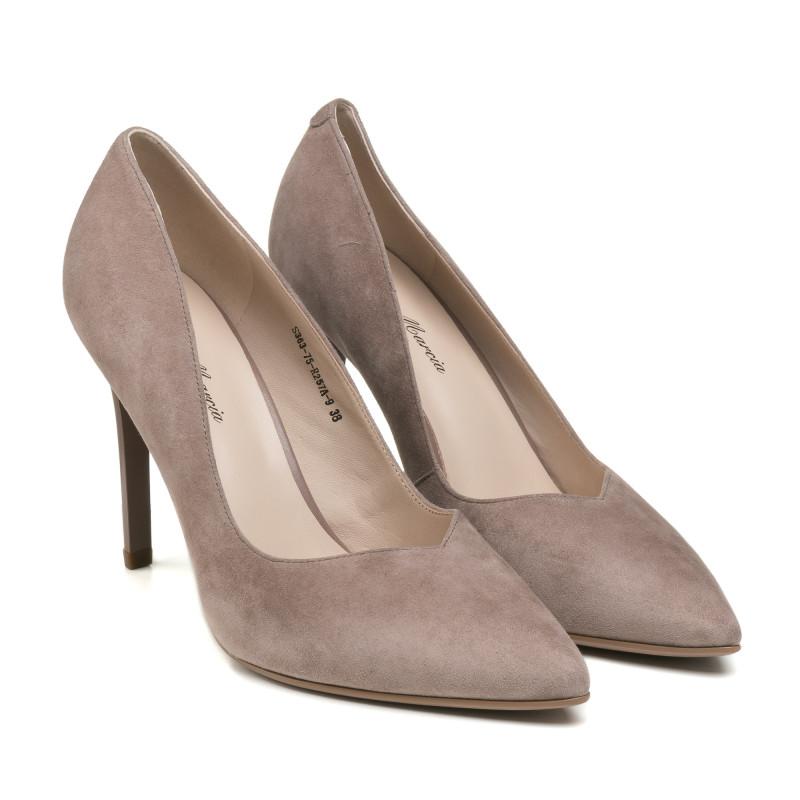 Туфлі човники жіночі замшеві сіро - бежеві на шпильці Lady marcia