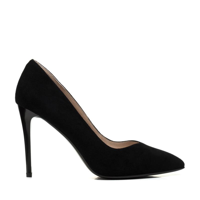 Туфлі жіночі човники замшеві чорні на шпильці Lady marcia