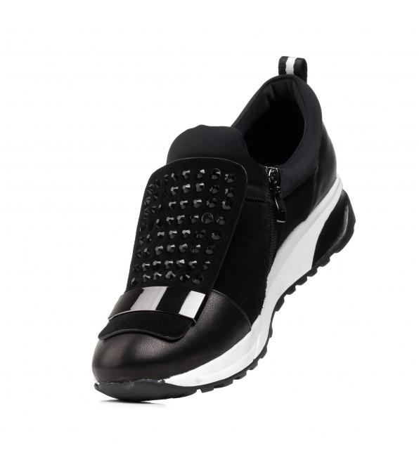 Туфлі жіночі чорні замшеві з декором Bellavista