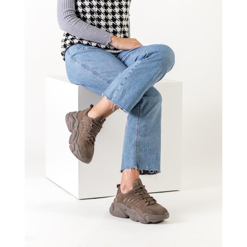 Кросівки жіночі кольору мокко на високій підошві Mossanee Farali