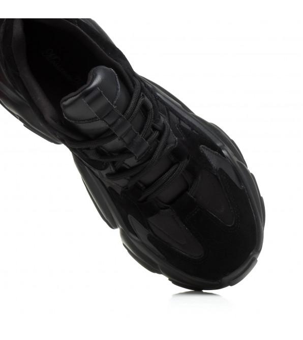 Кросівки жіночі чорні на високій платформі Mossanee Farali