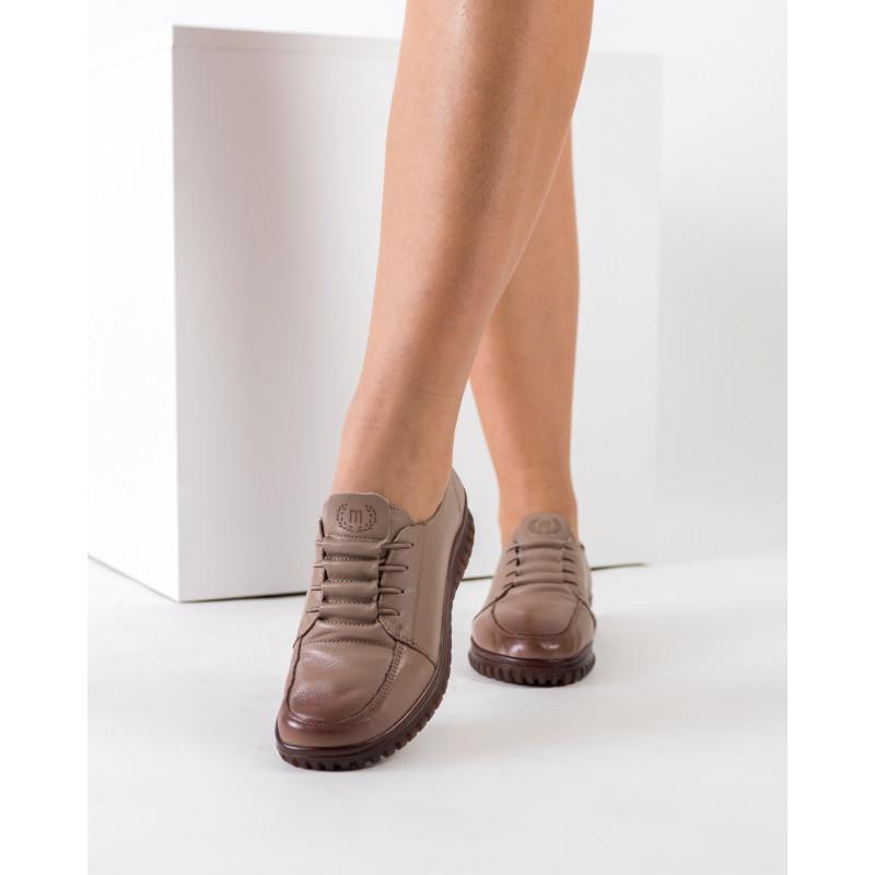 Туфлі жіночі шкіряні на низькому ходу кольору капучино Meegocomfort