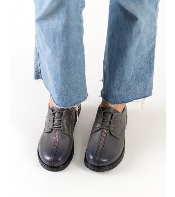 Туфлі жіночі сірі на плоскій підошві Meegocomfo