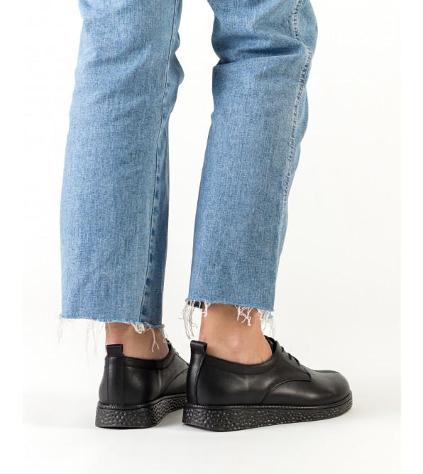 Туфлі жіночі чорні на плоскій підошві Meegocomfo