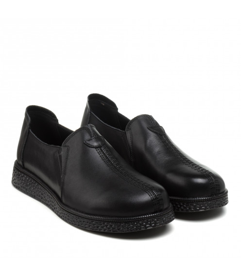 Туфлі жіночі шкіряні чорні на плоскій підошві Meegocomfo