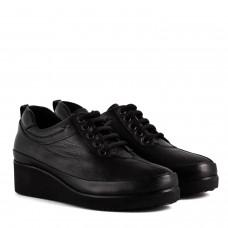 Туфли женские кожаные черные на танкетке Ripka