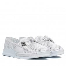 Туфли женские кожаные белые на низком ходу