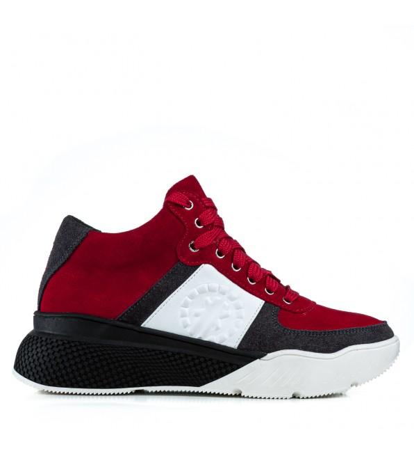 Кросівки жіночі замшеві червоні на високій підошві
