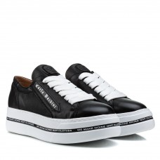 Туфли женские кожаные черные на высокой платформе