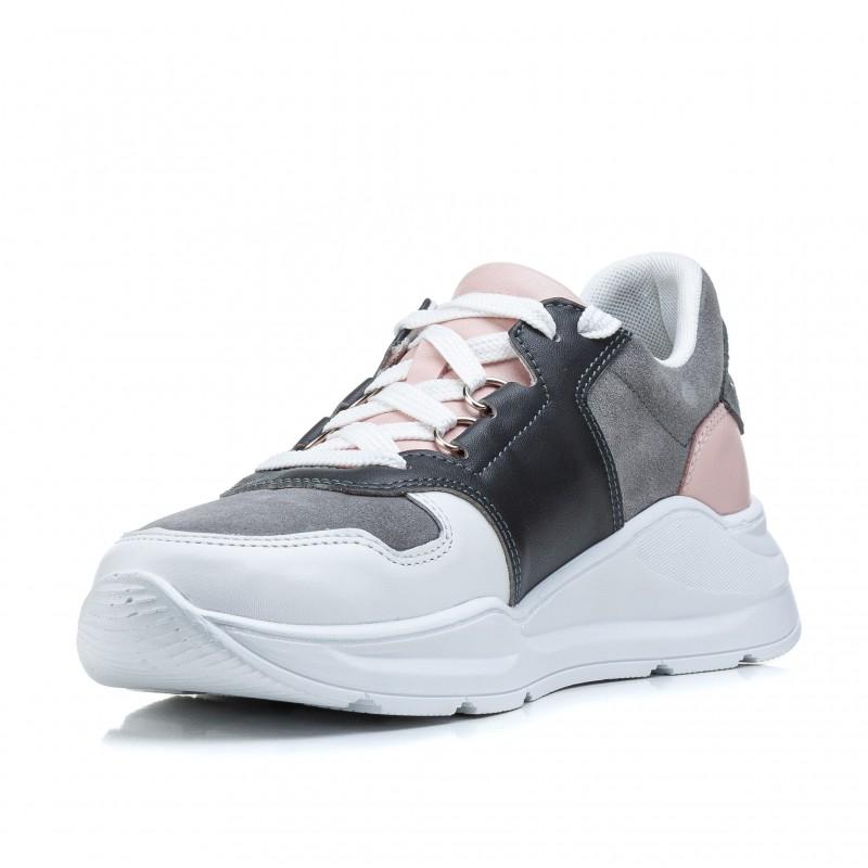 Кросівки жіночі шкіряні сірі на платформі