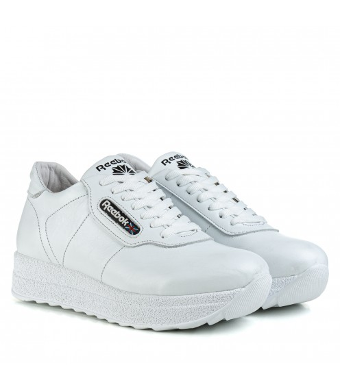 Кросівки жіночі шкіряні білі на високій платформі