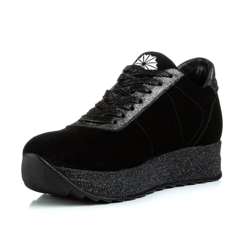 Кросівки жіночі замшеві чорні на платформі Lions