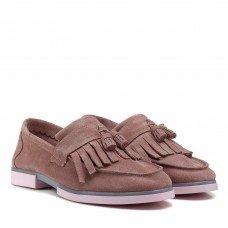 Туфлі жіночі замшеві рожеві на низькому каблуку