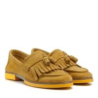 Туфли женские замшевые желтые на низком каблуке
