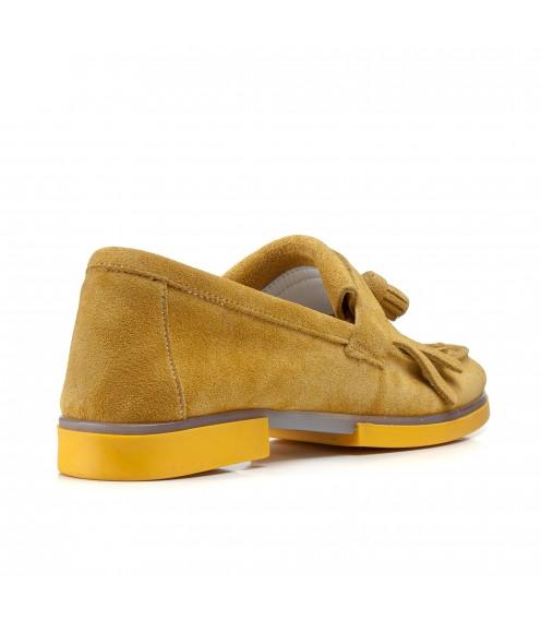 Туфлі жіночі замшеві жовті на низькому каблуку
