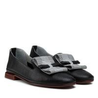 Туфли женские кожаные черные на толстом каблуке