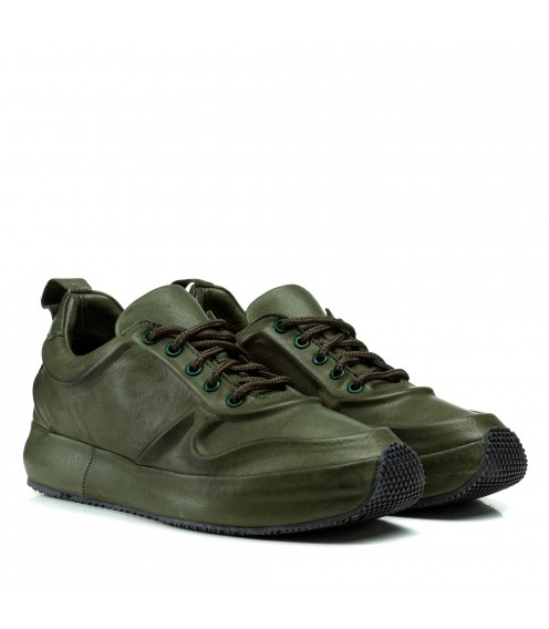 Кросівки жіночі шкіряні зелені на платформі