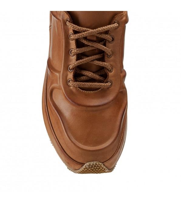 Кросівки жіночі шкіряні коричневі на платформі