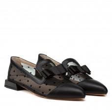 Туфли женские кожаные черные на низком каблуке