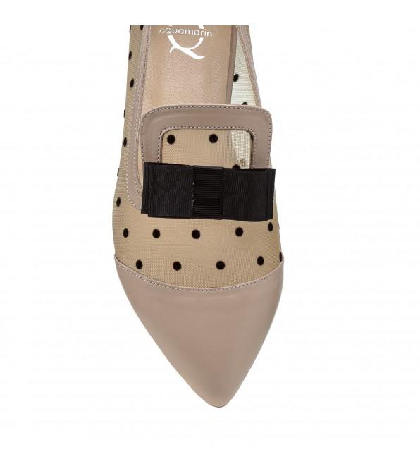 Туфлі жіночі шкіряні пудрові на низькому каблуку