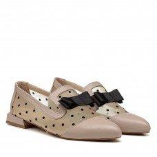 Туфли женские кожаные пудровые на низком каблуке
