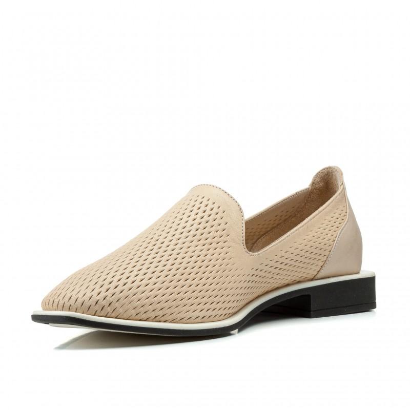Балетки жіночі шкіряні пісочні на низькому товстому каблуку