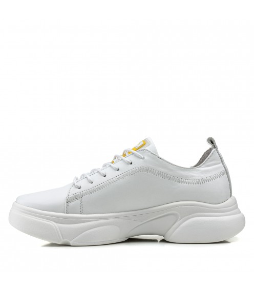 Кросівки жіночі шкіряні білі на платформі