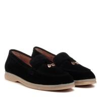 Туфли лоферы женские черные замшевые Corsovito