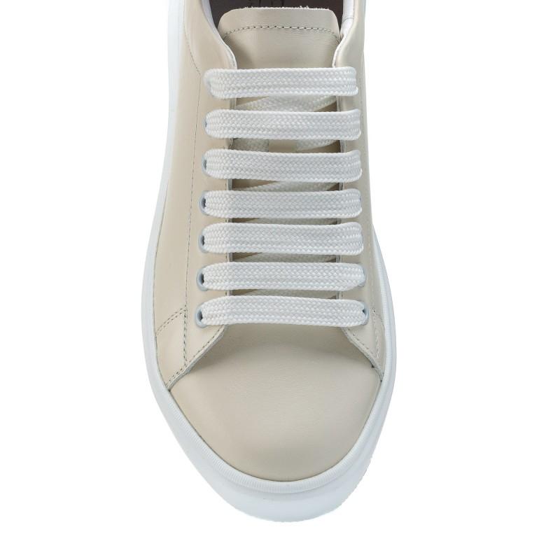 Кеди шкіряні молочного кольору на шнурівці Kento