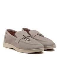 Туфли лоферы женские замшевые серые All shoes