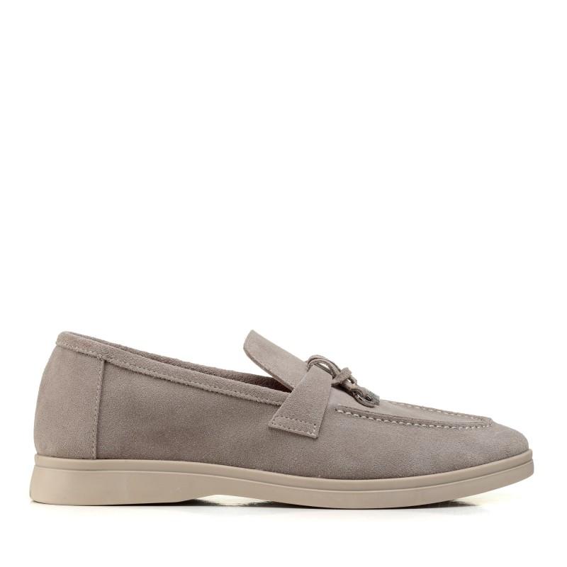 Туфлі лоферы жіночі замшеві сірі All shoes