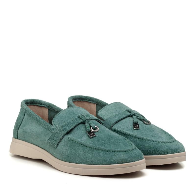 Туфлі лофері жіночі замшеві на низькому ходу All shoes