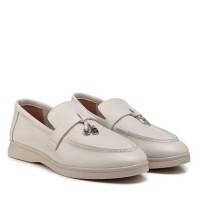Туфли лоферы женские бежевые кожаные All shoes