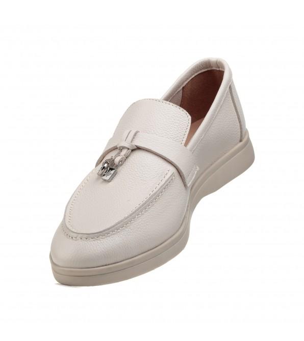 Туфлі лофери жіночі бежеві шкіряні All shoes