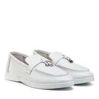 Туфли лоферы женские кожаные белые All shoes