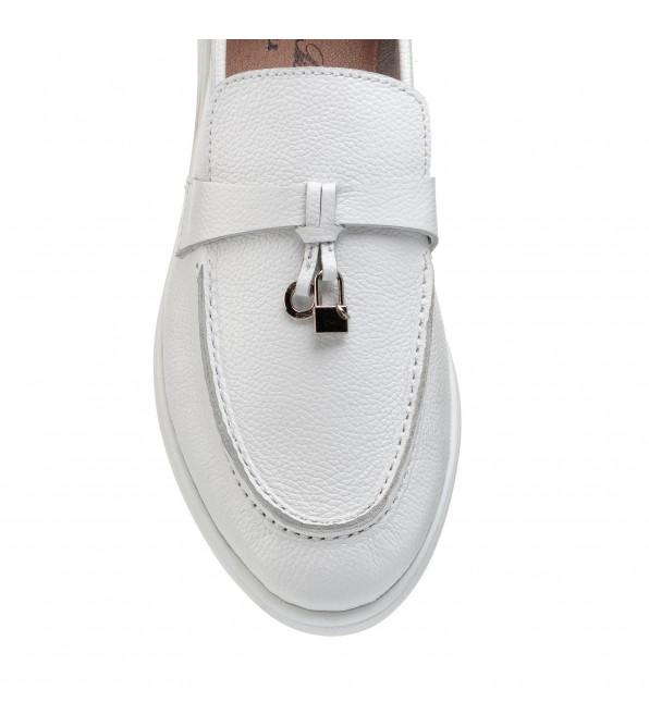 Туфлі лофери жіночі шкіряні білі All shoes