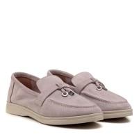Туфли лоферы женские замшевые пудровые All shoes