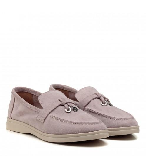 Туфлі лофери жіночі замшеві пудрові All shoes