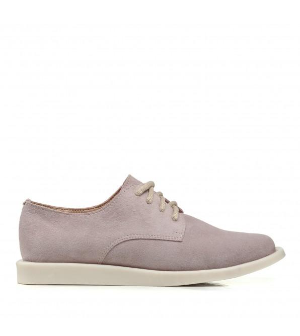 Дербі жіночі замшеві рожеві на низькому ходу All shoes