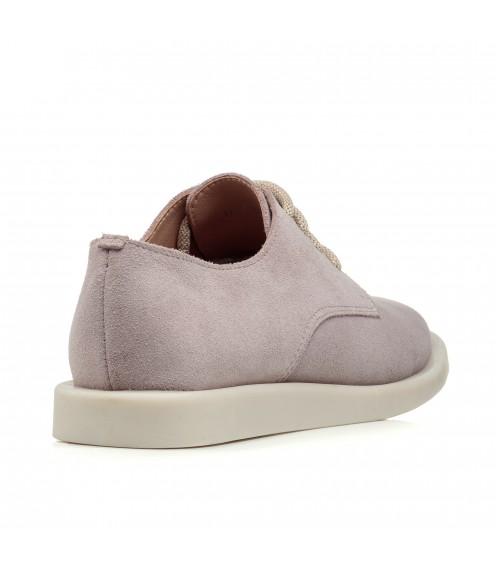 Туфлі замшеві молочні на низькому ходу All shoes