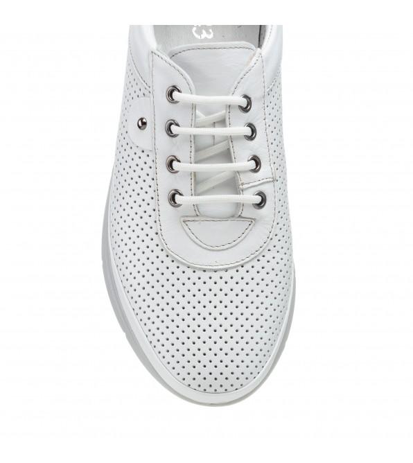 Туфлі жіночі шкіряні білі з перфорацією Trio