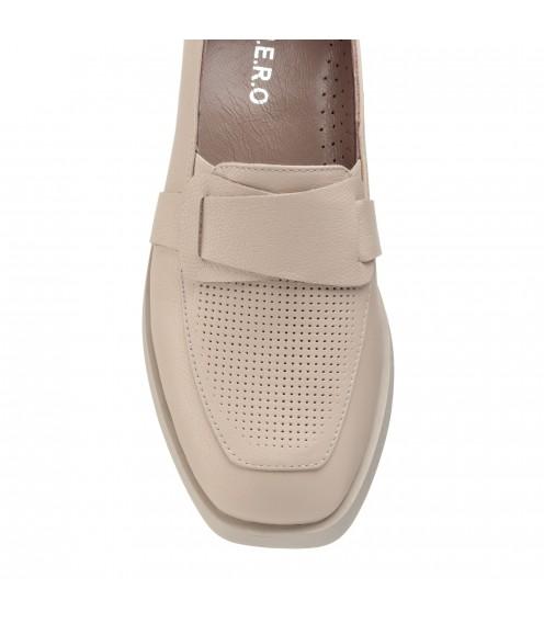 Туфлі лофери жіночі шкіряні на низькому каблуці Guero